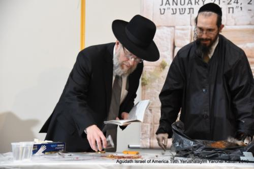 YYK_2019_Tues_Harav Doniel Neustadt performing Kisu haDam after schechita